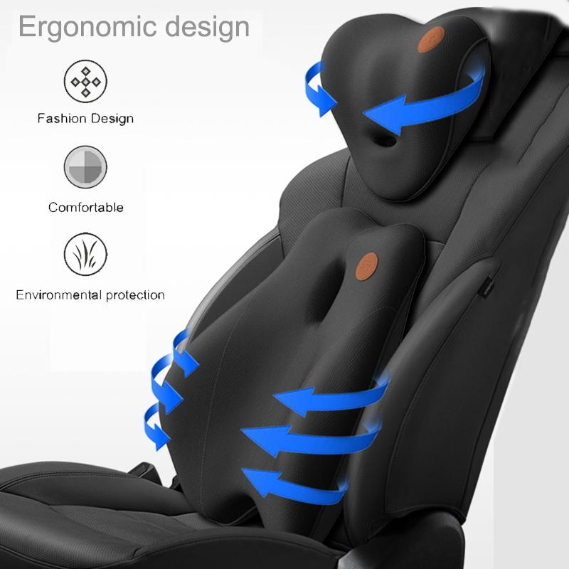 JINSERTA Massage Car Neck Pillow Rebound Memory Foam Car Headrest Neck Pillow For Seat Flight Traveling Office Chair