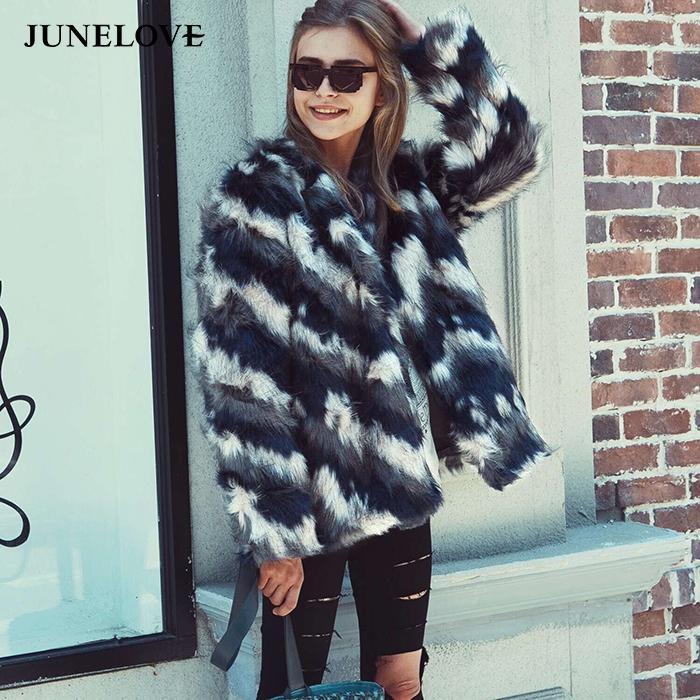 JuneLove зимы женщин нашивки с длинным рукавом Теплые пальто Урожай Женщины искусственного меха Пушистый Пушистый Шубы заплатки Повседневный Lady Outwears