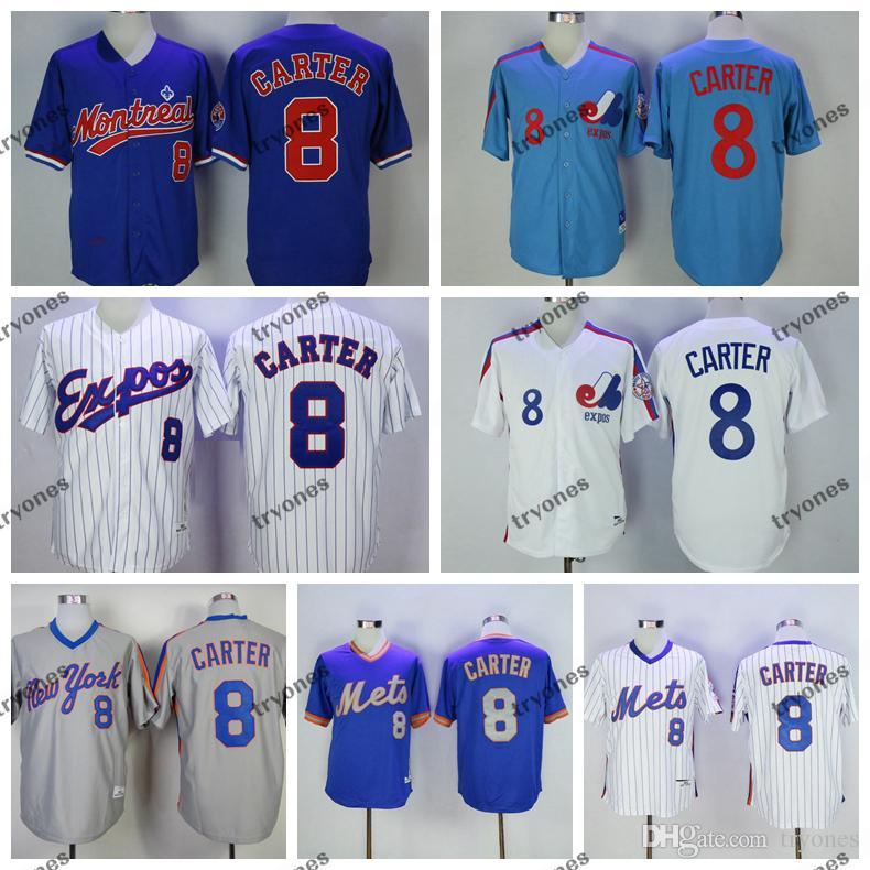Mens Vintage 1984 Montreal Expos Gary Carter Baseball Jerseys Cheap White Blue #8 Gary Carter Mens Stitched Shirts M-XXXL