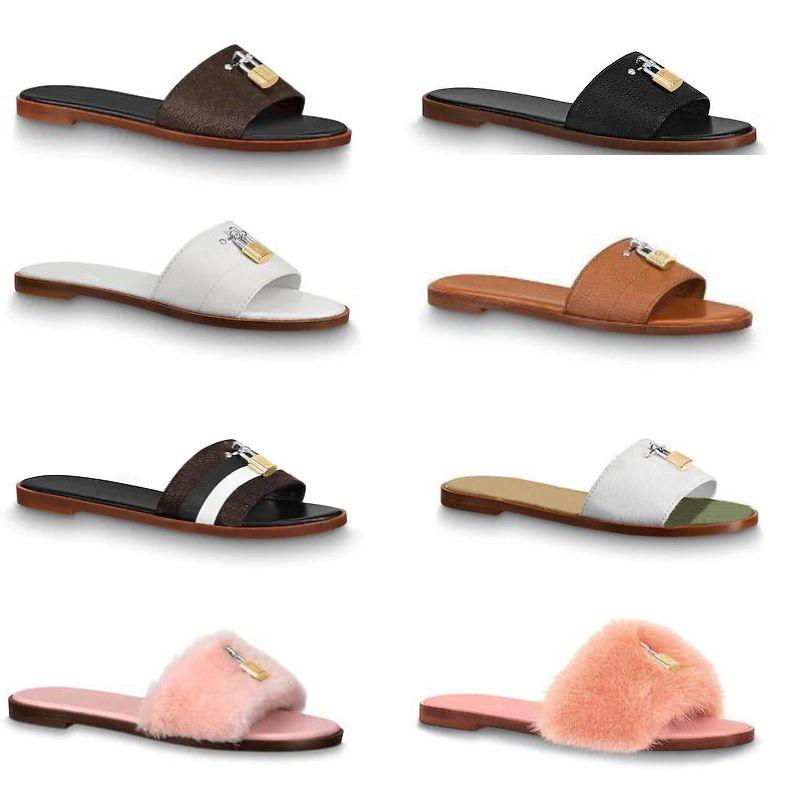 glissière design pantoufles mules plates glissières en fourrure pantoufles pour femmes 100% cuir véritable tongs plates