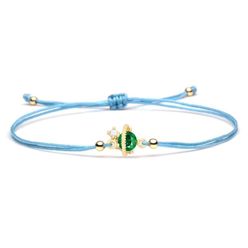 Tiny Kupfer schicke grüne Kristall Zirkonia Die Planeten Stern Charm Armband rote Schnur Schützen Good Luck Adjustable Schmuck