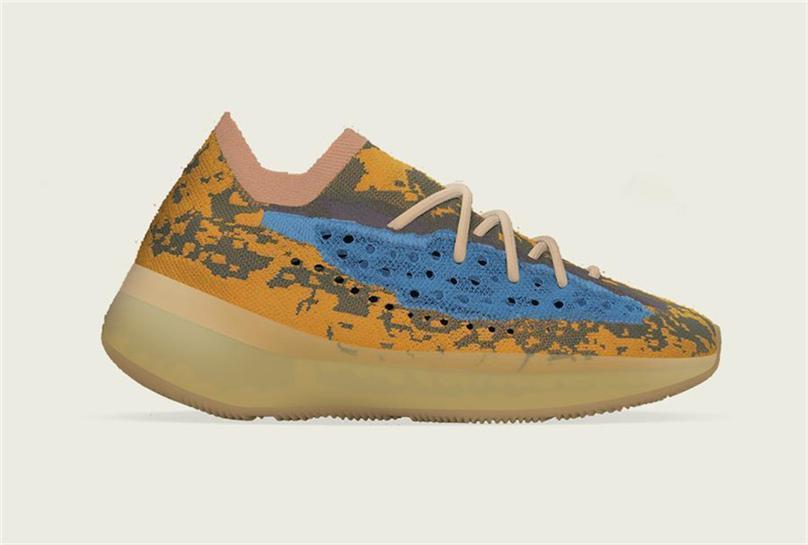 2020 Originals 380 Mavi Yulaf Q47306 Yansıtıcı Alien Erkekler Kadınlar Kanye West Otantik Spor Spor ayakkabılar ile Kutu Koşu Ayakkabıları