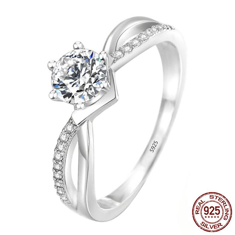 Original 100% 925 Sterling Silver Engagement Ring 6mm CZ Zircon for Women finger party gift christmas classic fashion jewelry XR397