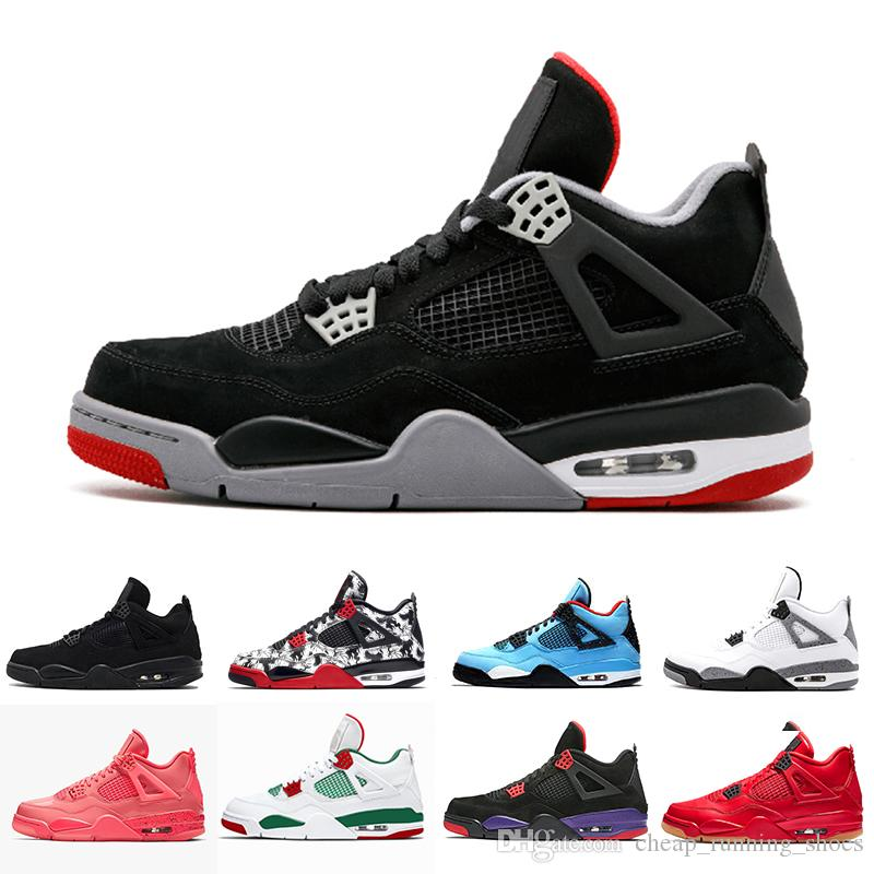 New Christmas Jordans 2019.2019 New Arrival Bred Pale Citron Tattoo 4 Iv 4s Men Basketball Shoes Pizzeria Singles Day Royalty Black Cat Mens Trainers Sports Sneakers Sports