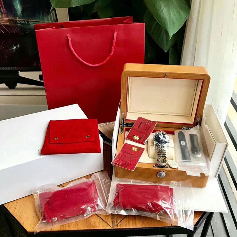 Boîtier de montres de montre Boîtier de rangement en cuir blanc en bois avec coussin amovible protège