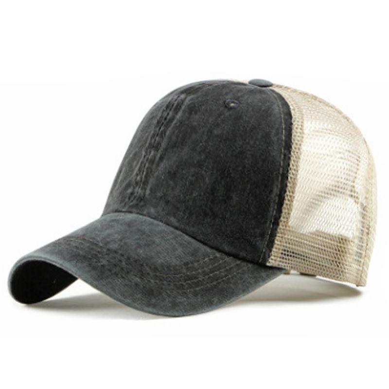Boné de beisebol New Verão respirável oco Design Homens da malha exterior Caps Moda Washed Cap Algodão Sun ajustável Hat For Ladies