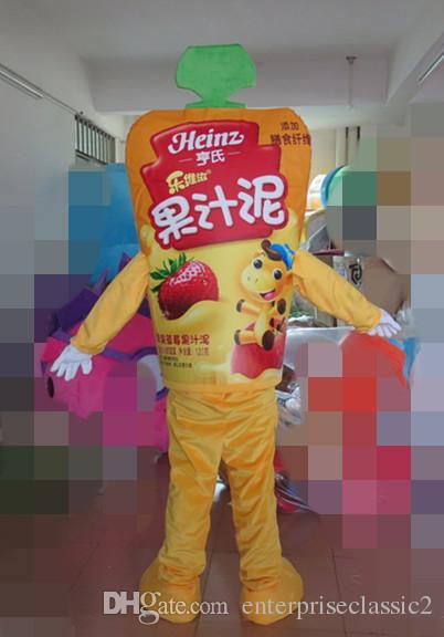 100% ayni çekim yetişkinler için heinz jöle maskot kostüm jöle maskot