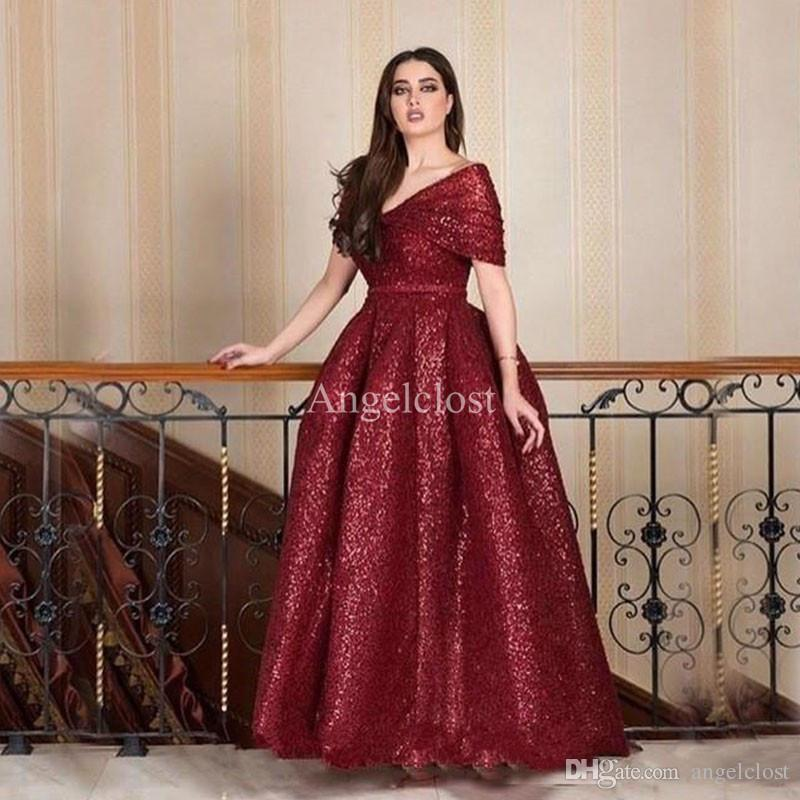 Dark Red Sequin Arabic Evening Dresses 2019 Off Shoulder Pleats A Line Long  Plus Size Saudi Arabia Prom Party Gowns Vestidos De Fiesta Evening Dresses  ...