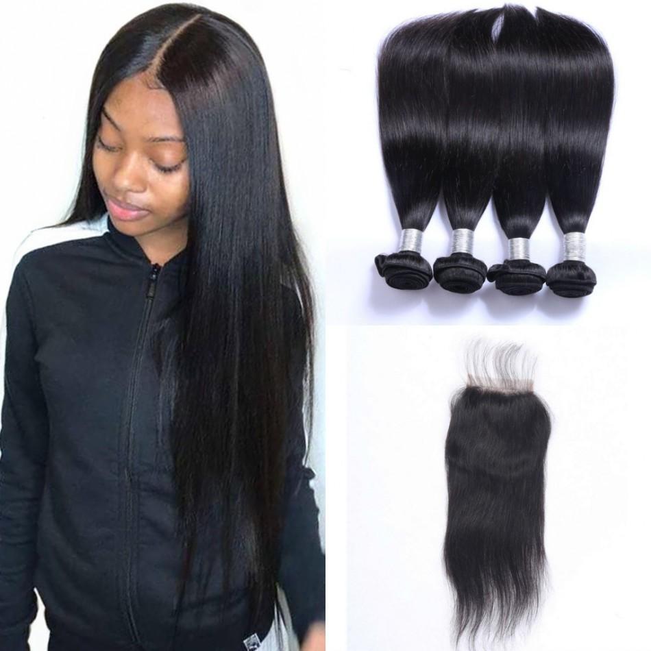 Brasileiro Direto Tece cabelo 4 pacotes com fecho Livre Parte 100% não processado Virgin do cabelo humano com laço Encerramento