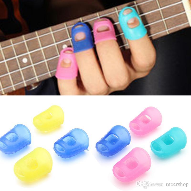 Finger Guards silicone guitare protecteurs pour guitare Fingertip Ukulele S M L Couleur aléatoire