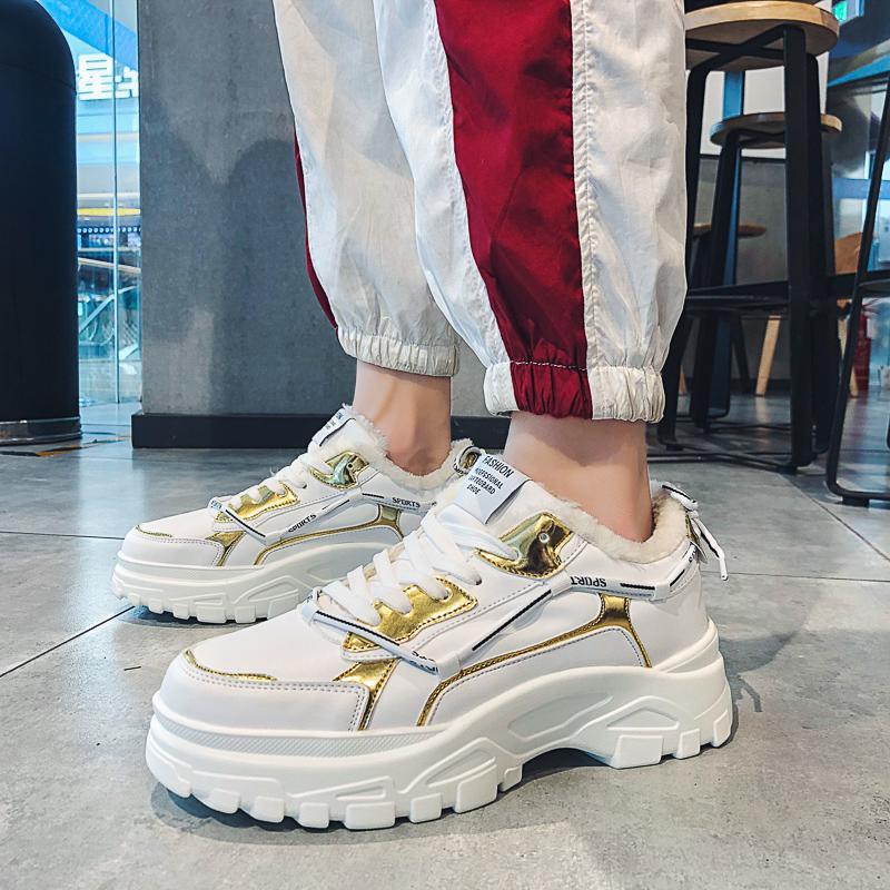 Qualità Baideng da tennis degli uomini di inverno con pelliccia scarpe da corsa uomo Altezza crescente Chunky fondo spesso scarpe sportive peluche Warm Snow Boots
