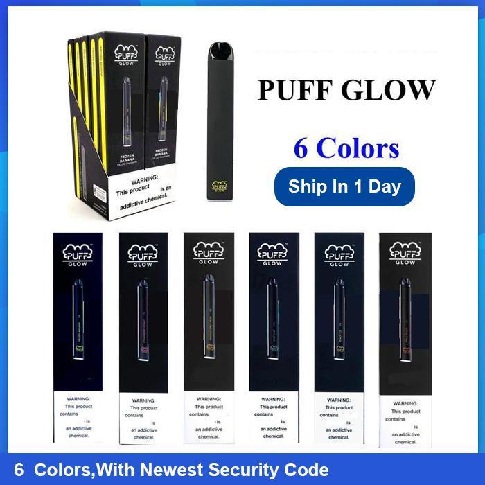 Melhor qualidade PUFF Brilho divice descartável Vape Pen 1,4 ml LED descartável vagem 5 cores Puff Bar Glow in da Com código de segurança