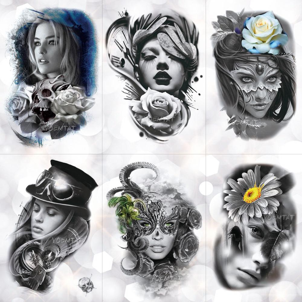 Máscara de plumas de encaje Chica Etiqueta Engomada Del Tatuaje Temporal Rosa Cráneo Triste Y Hermoso Tatuaje A Prueba de agua Arte Falso Tatoo Para Mujeres T190711