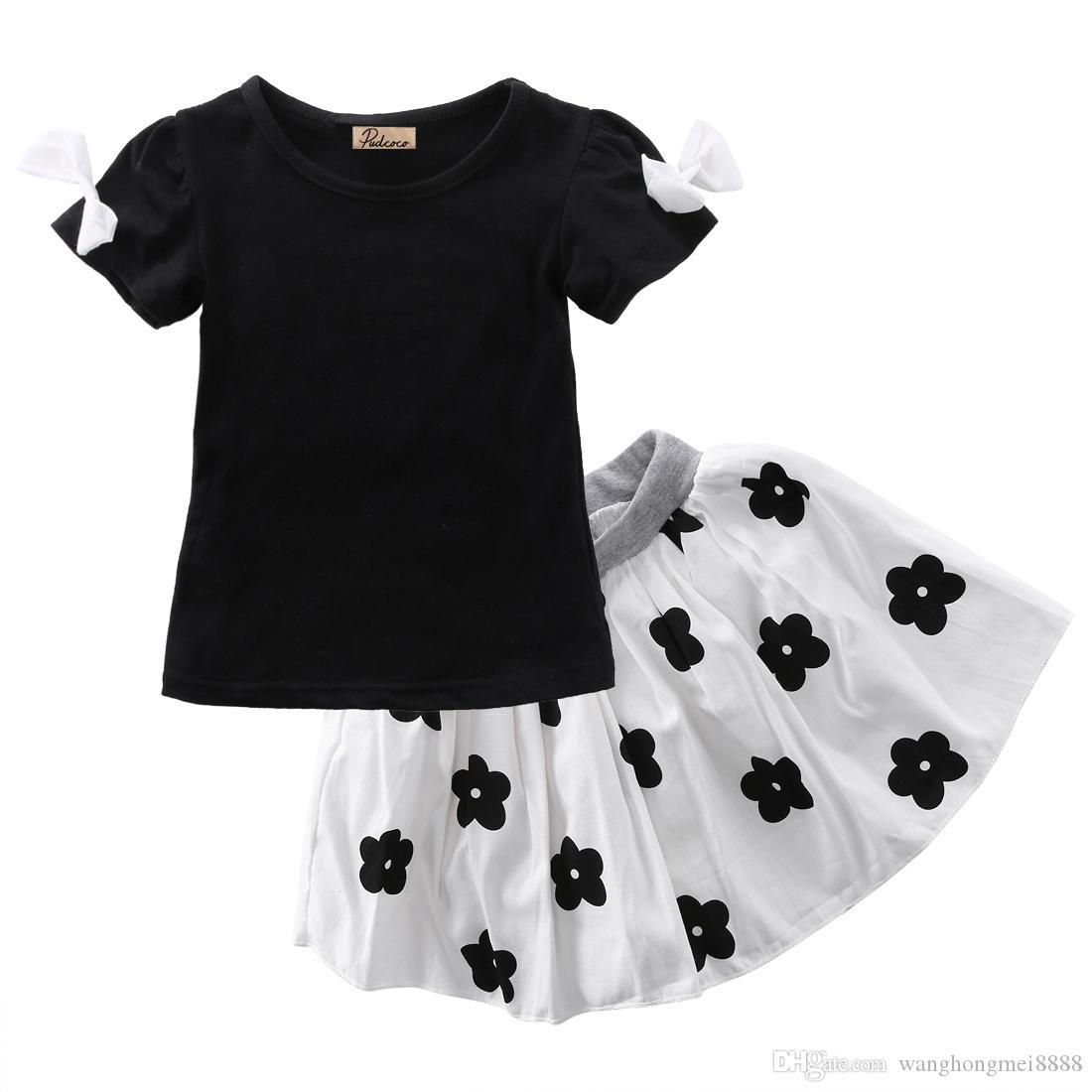 طفل الفتيات الملابس مجموعة طفل أطفال قصيرة الأكمام bowknot t-shirt أعلى الأزهار توتو تنورة الأميرة الزي ملابس الصيف 2 قطع 1-6 طن