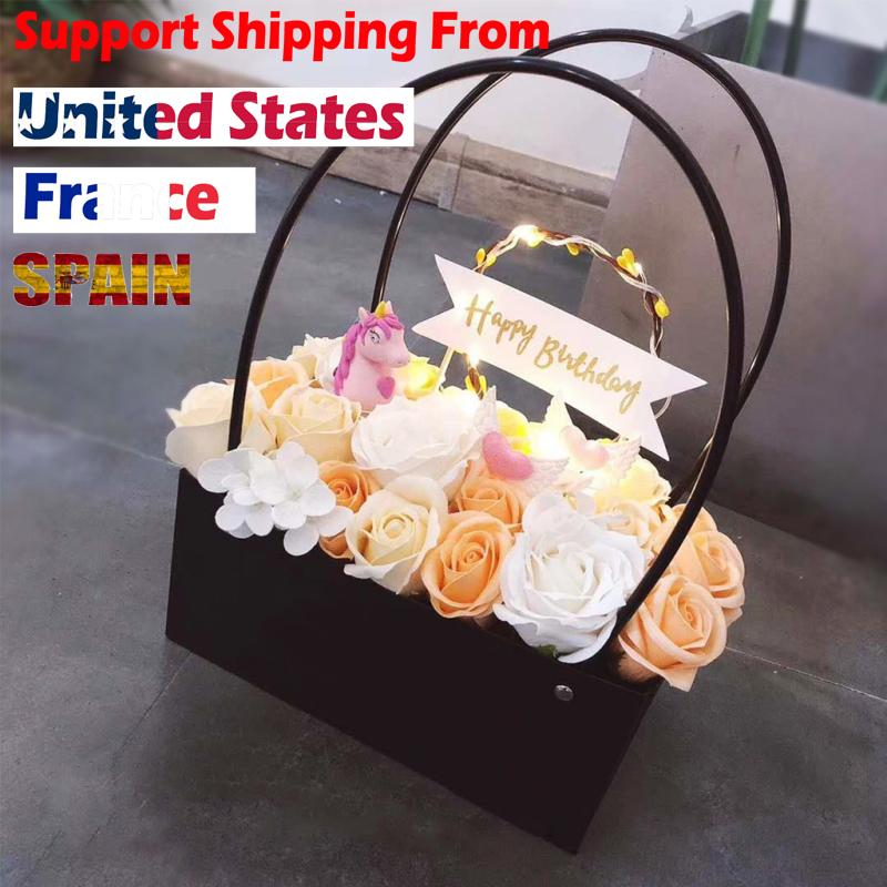 PVC Bouquet Flower gift Boxes Round Living Vases Florist Box Flower Plant Boxes Gift box bags with handles