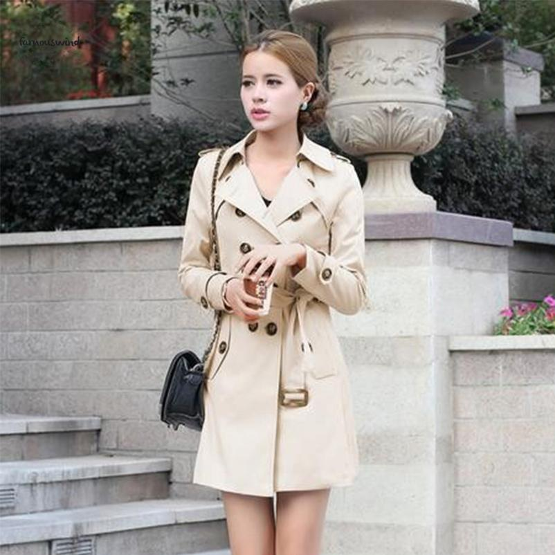 1Pc Coat For Trench Women Double Breasted Slim Long Sleeve Fit Long Spring Coat Casaco Feminino Abrigos Mujer Autumn Outerwear