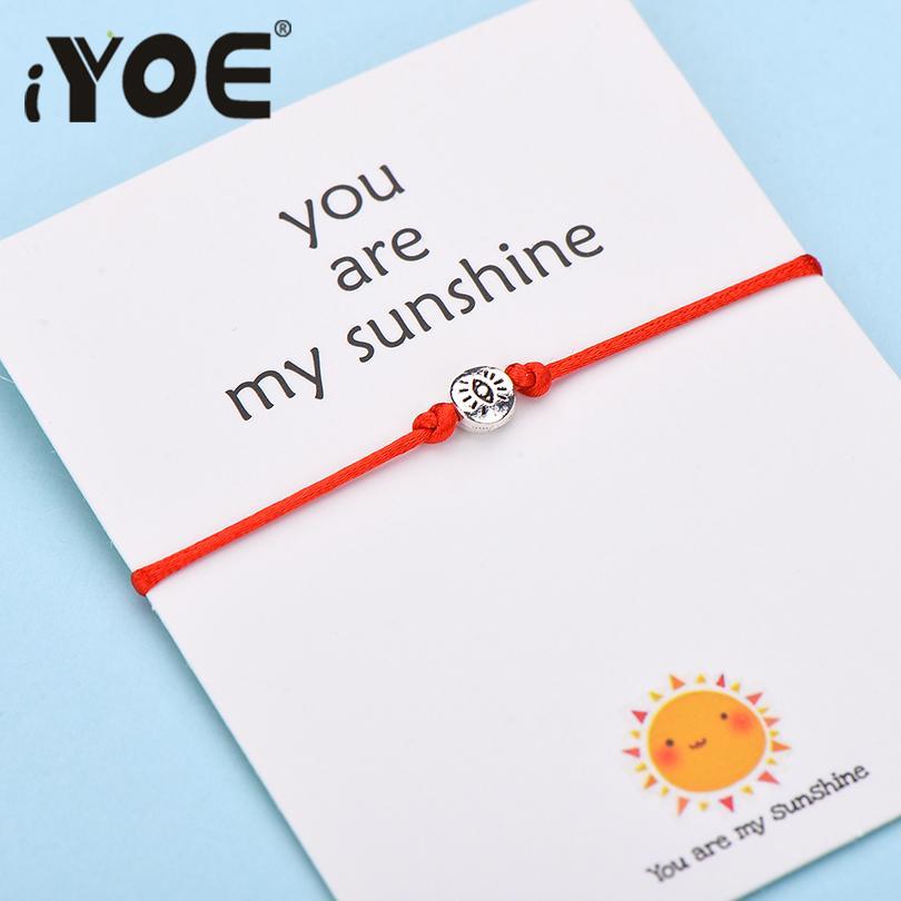 Pulseras del encanto barato IYOE Wish tarjeta Usted es mi sol de ojos para las mujeres de los hombres cumpleaños de los niños de regalos hechos a mano del hilo pulsera roja