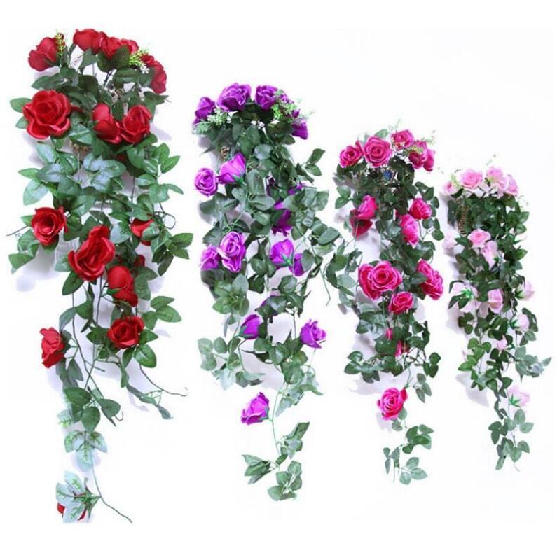 Искусственный шелк Розы Rattan Поддельный Rose Wall Hanging Garland Vine Свадьба Главная Декоративные цветы Строка Сад Висячие Garland LSK187