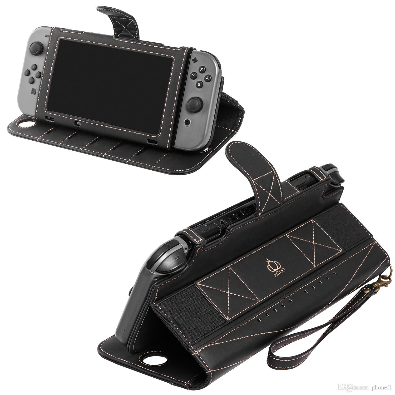 Carrying Case PU Leather Protect Virar cobertura de viagem para Nintendo Mudar Case, com 10 cartões Holeders Levante Função