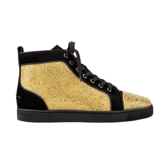 """Top Projeto Outdoor Sports Walking Shoes Mens Sneakers Red inferior Strass ouro Rhinestone Plano Homens Pretos Veau Velors """"Version Rose"""""""