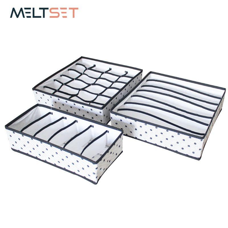 3pcs/set Foldable Underwear Organizer Bra Tie Scarf Clothes Storage Box Container Wardrobe Closet Organizer Drawer Dividers Case Q190525