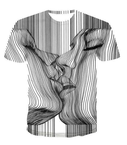 Neueste Art und Weise der Männer / Womans Kuss psychedelisch Sommer-Art-T-Stücke 3D-lässig T-Shirt Tops Plus Size BB0177 Drucke