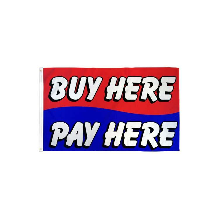 Купить здесь Pay Здесь Красный Синий Флаг 3x5ft печати Полиэстер клуб Командные виды спорта в помещении с 2 латунными креплениями, Бесплатная доставка