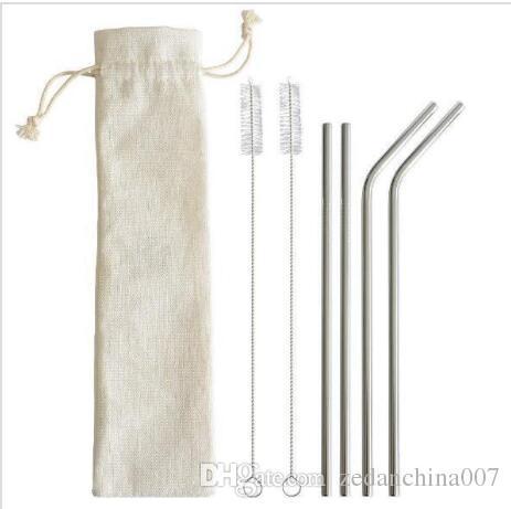 6 unids / set Conjuntos de pajas de acero inoxidable Set de pajas de beber reutilizables Paja de beber de plata metal doblada con cepillo de limpieza