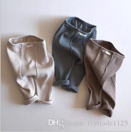Los niños ropa de la muchacha Pantalones Primavera Otoño 100% de las bragas de algodón color sólido del todo-fósforo Uno niños Botón pantalones suaves