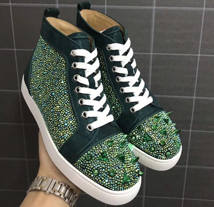 Famosas marcas de espigas verdes de diamantes de imitación zapatos de las zapatillas de deporte del top del alto laboutin auténticas mujeres de los hombres de cristal de remaches de cuero rojo zapatos casuales inferiores