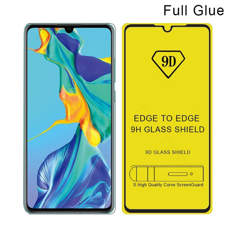 10 unids Huawei P30 9D vidrio templado para P30Pro P30Lite Nova 3 3i 2i 3E 4E Huawei protección de pantalla de cobertura total película templada