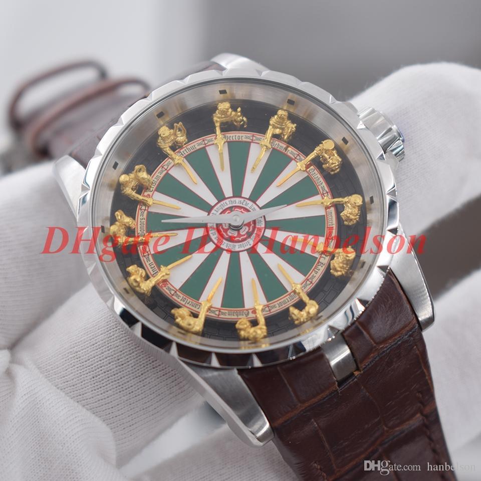 hommes NOUVEAU 12 chevalier de la table ronde vol cadran en trois dimensions montres 2813 montre Mouvement mécanique automatique orologio di lusso Horloge