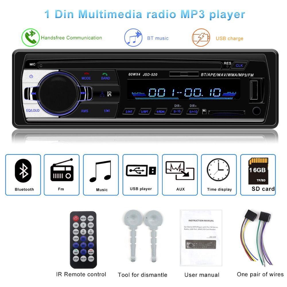 Autoradio JSD-520 자동차 스테레오 1 딘 자동차 라디오 블루투스 12V V2.0 FM AUX 입력 수신기 자동차 오디오 SD의 USB의 MP3의 MMC WMA는 520 JSD