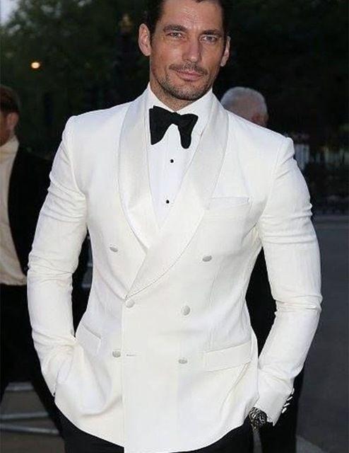 Abiti alla moda Blazer smoking dello sposo Groomsmen Avorio scialle risvolto migliore vestito dell'uomo cerimonia nuziale degli uomini (Jacket + Pants)