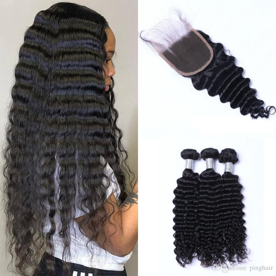 Malaysian Virgin Hair Deep Wave Bundles with Closure Human Hair Bundles with 4*4 Lace Closure Non Remy Hair Extensions