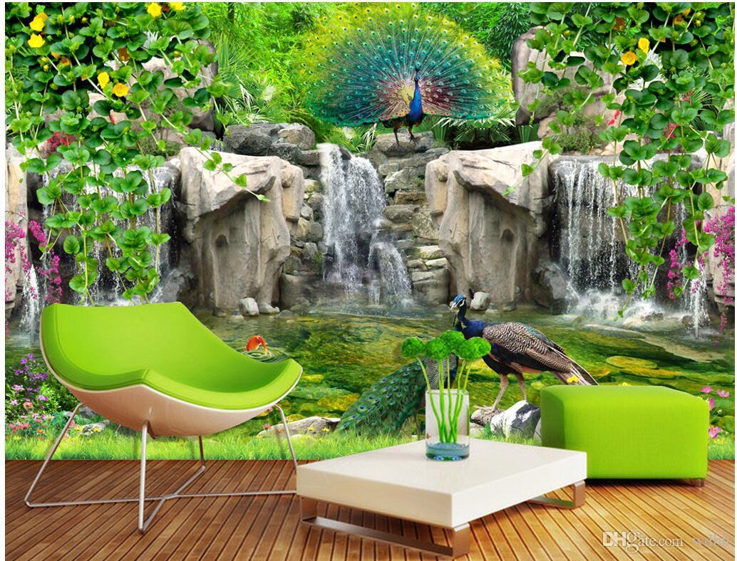WDBH foto personalizzato di carta 3D muro roccioso Fresh pavone della vite del fiore sfondo tv camera arredamento murali 3d Tappezzeria per le pareti 3 d