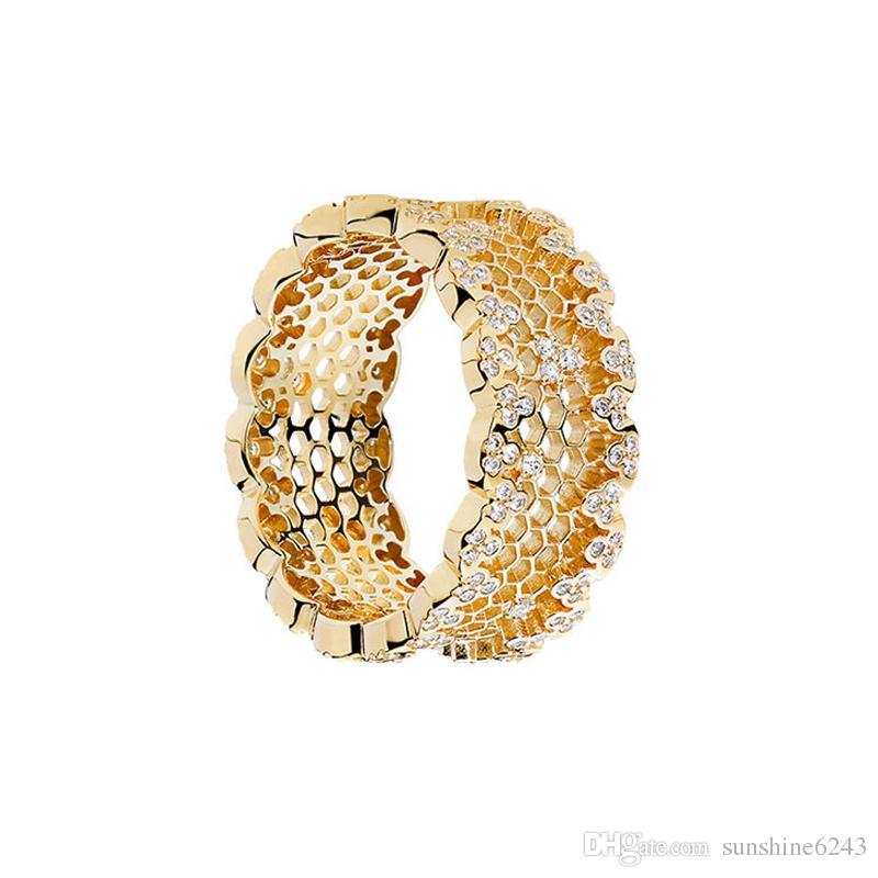 Ювелирные изделия CZ кольцо S925 стерлингового серебра кольца для женщин 18 К позолоченный золотой цвет сотовые кольца горячей моды бесплатная доставка