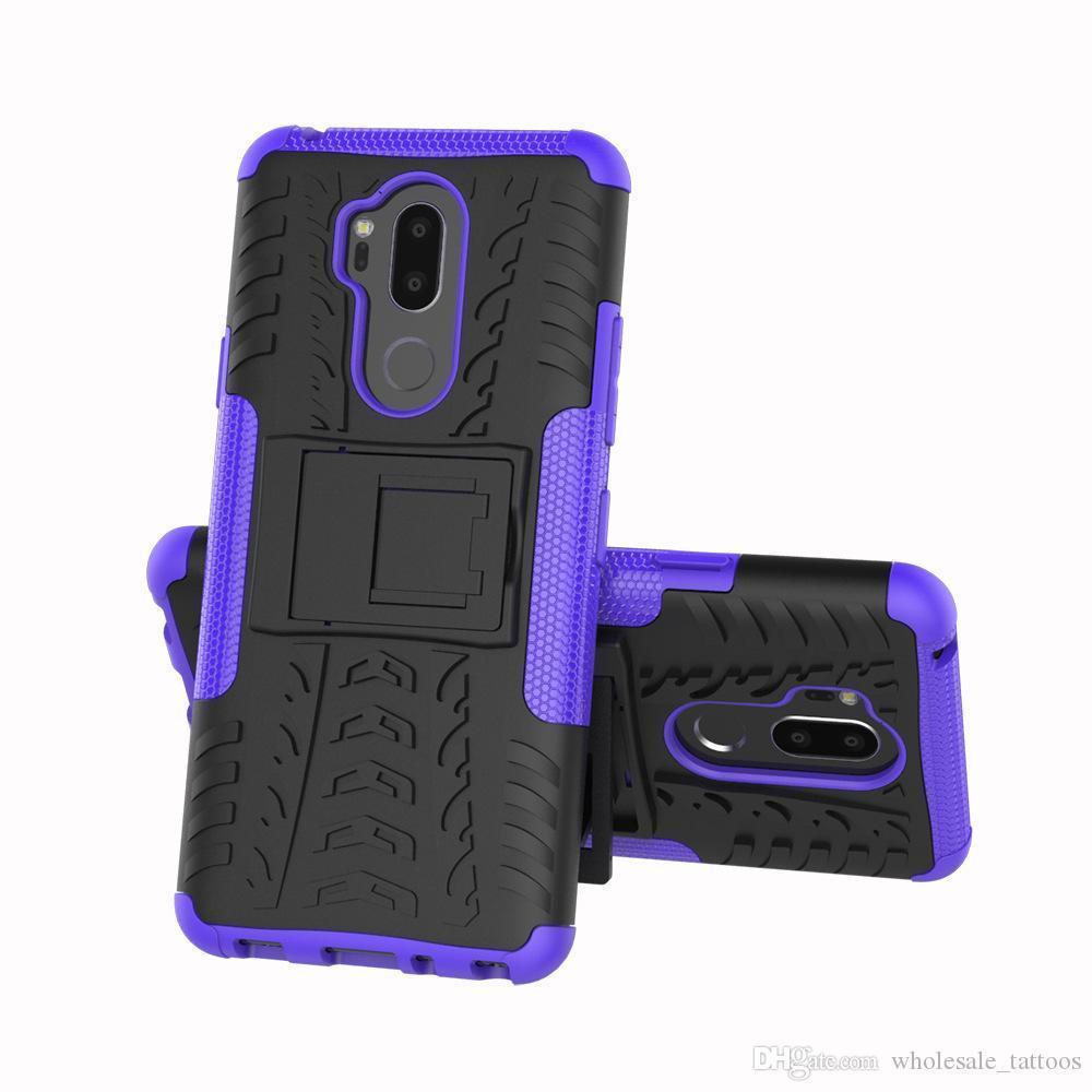 LG K20 Artı K20 V Harmony Grace 4G X Şarj X Güç 2 Fiesta LTE K10 Güç Hibrid Zırh Kapak İçin Kickstand Çift Katmanlı Anti-Shock kılıflar