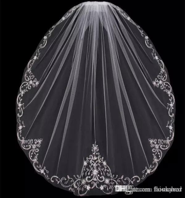 Nueva llegada de una capa yema del dedo Velos de novia apliques lentejuelas cuentas borde barato tul velo de novia para novia con peine