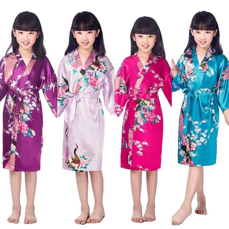 Wedding Flower crianças Mancha Robes para meninas Floral Silk camisola Infantil Banho dama de honra do partido Kimono Evening vestidos 010610