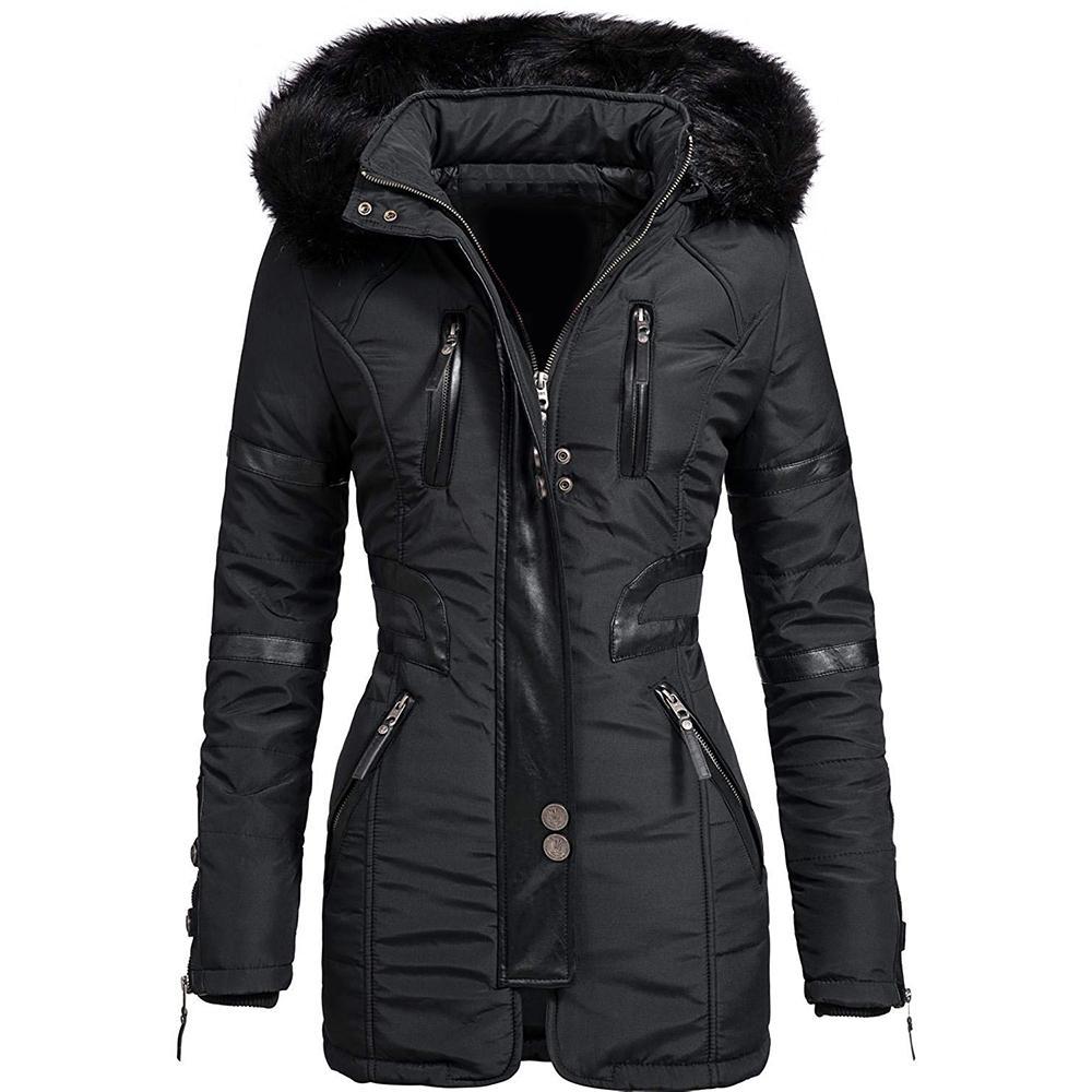 Épais de Noir Chaud Parkas Femmes capuche en coton matelassé Veste d'hiver Femme Zipper coupe-vent Outwear Femmes hiver Coton Manteau D30