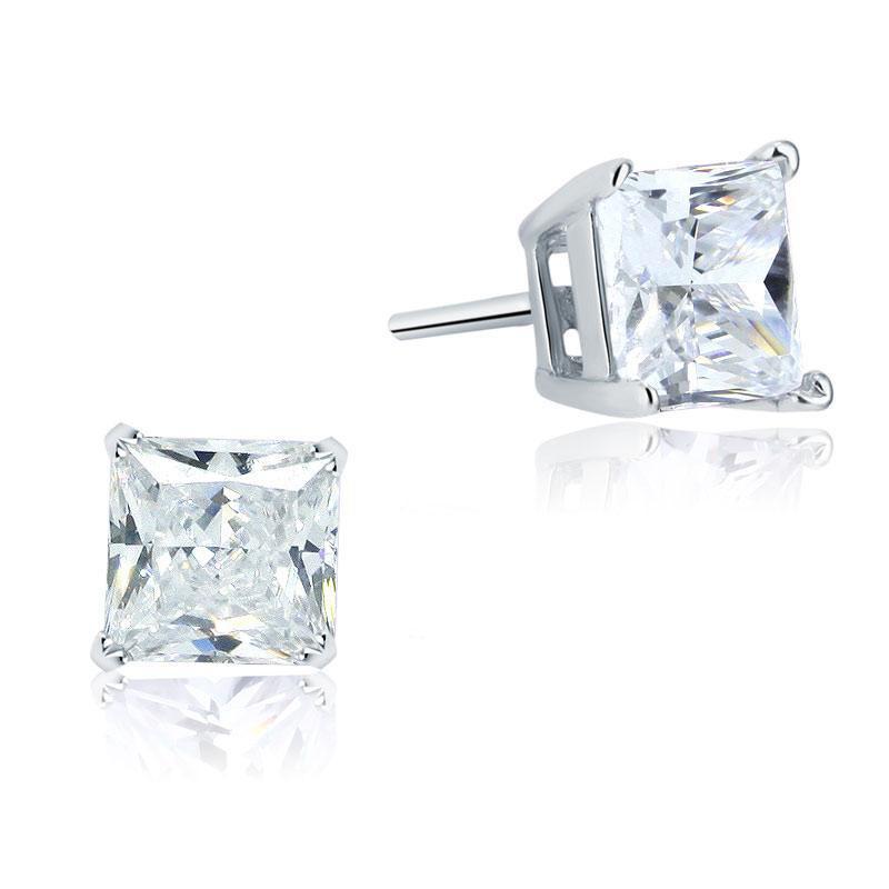 Exquisite Frauen-Ohrringe Ohrschmuck 925 Sterling Silber Ohrstecker 1 Ct Princess Cut Erstellt Diamant