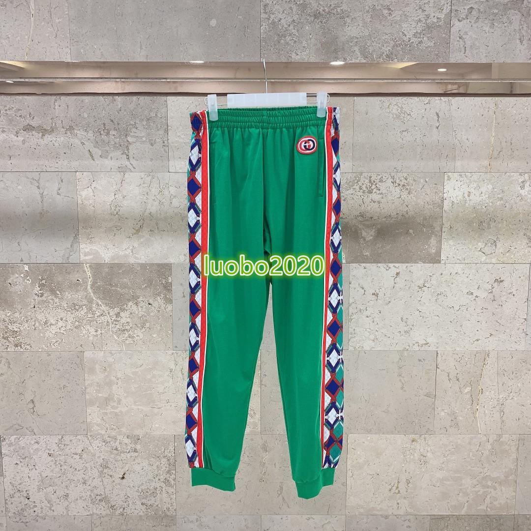 high end женщины девушки Джерси бег трусцой брюки ромб лоскутное сцепление письмо шаблон случайные леггинсы 2020 мода дизайн роскошные брюки