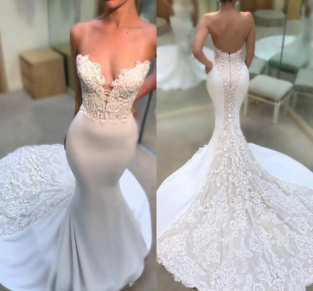 2020 Sexy Simples Sereia Vestidos De Noiva Querida Ilusão Lace Apliques Sem Mangas Tribunal Trem Aberto De Volta Fishtail Vestidos de Noiva Vestidos