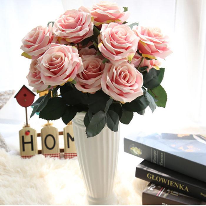 Künstliche Blume Silk Rose Bouquet Simulation Blume Home Hochzeits-Party-Dekoration echte Berührung Fast genau feuchtigkeitsspendendes Gefühl