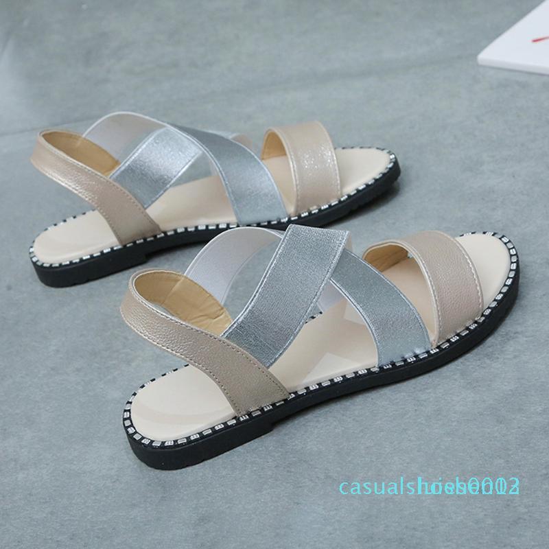 Cuero de lujo de la mujer sandalias planas de la playa del verano 2020 sandalias Rasteirinha femenino ocasional de tacón bajo los zapatos de trabajo de las señoras mulas L05