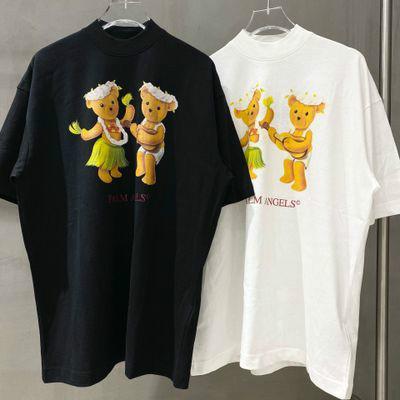 2020 High street marea di Modo di marca uomini e donne T-shirt Top Quality Femminile Vestito Da Estate danza coppia teddy bear manica corta US