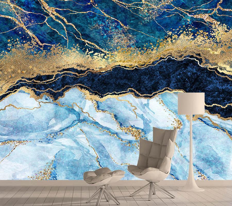 Blue Marble textura Fundo 3D Mural Parede Paredes papel papéis Home Decor Murais Papéis de parede para sala de estar Contactar Rolls