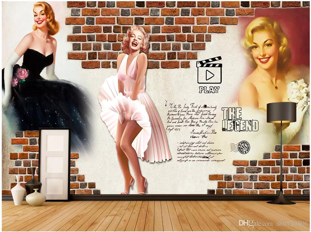 Wdbh 3d Wallpaper On The Wall Custom Photo Retro Nostalgic Marilyn