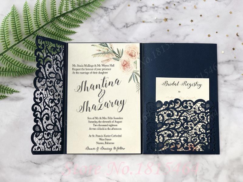 50pcs Lace Tri-fold Laser Cut Pocket Customized Wholesale Greeting Cards Birthday/Wedding/Party Invitation Greeting Cards SH190923